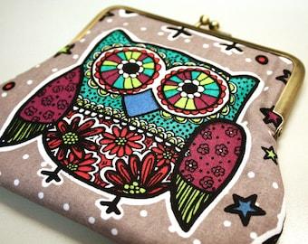 Clutch Purse Owl Kiss Lock Pouch