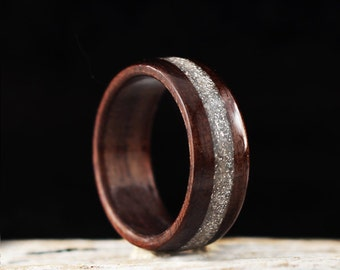 Wooden Ring Handmade From Walnut Wood and Silver Glitter