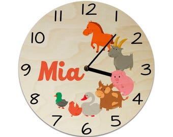 Farm Animals Cow Duck Goose Pig Goat Chicken Toddler Personalised Childrens Clock / Kids Clock