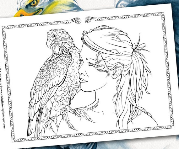 fantasy coloring pages eagles knights - photo#22