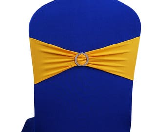 Yellow Elasticity Stretch Chair cover Band with Buckle Slider Sashes Bow Decor