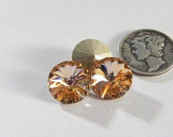 Swarovski 1122 Light Peach F 12mm Crystal Rivoli Stones (2 pcs)