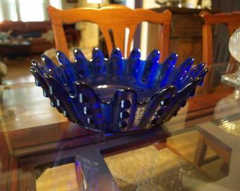 Large Cobalt Blue Bowl with Mod / Modern / Primitive Design – Vertical Hobnail Pattern