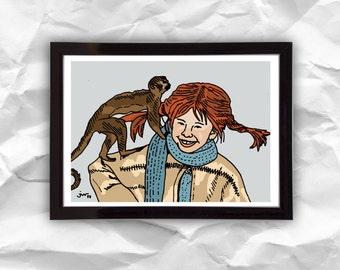 Digital download Pippi Longstocking, digital illustration