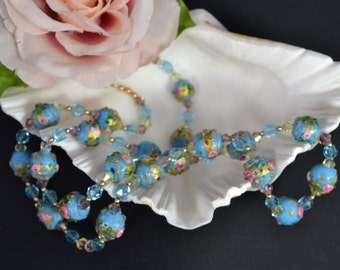 """vintage Italian Murano Fiorato Venetian glass lampwork Wedding Cake beads long necklace turquoise 28""""/Offered by poshparagons for you/gift"""