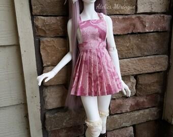 Pink Paisley Apron Skirt for 1/3 BJD and Feeple60