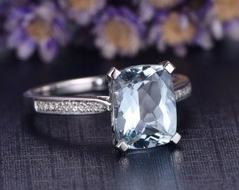 Aquamarine engagement ring with diamond,Solid 14k White gold promise ring,cushion cut wedding ring,custom made fine jewelry,Art Desc antique