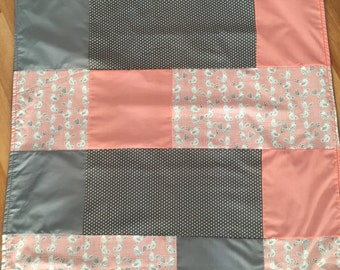 Plush baby birds pink and gray minky blanket patchwork quilt