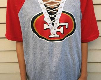 San Francisco 49ers NFL Lace Up T shirt