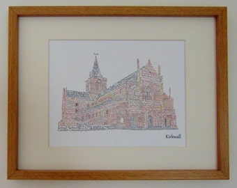 St Magnus Cathedral Framed Print designed with words to do with Kirkwall in the Orkney Islands