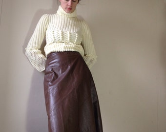 1970s brown leather midi a line skirt size 8/10
