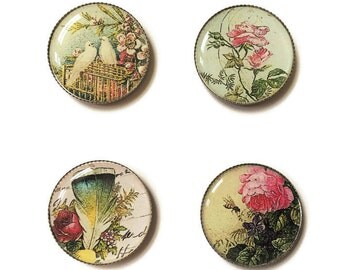 Shabby chic magnets or shabby chic pins, doves, birds, vintage, old fashioned, refrigerator magnets, fridge magnets, office magnets