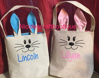 Personalized Bunny Easter Bag Bucket Basket