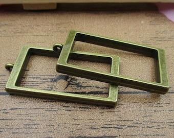 2 Rectangle Open Bezel Pendants-18x33mm,Locket Frame,Antique Bronze Tone-TS052