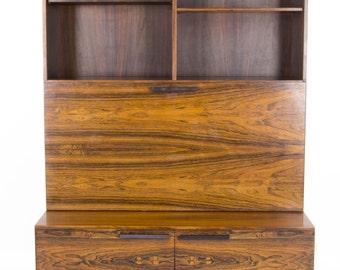 B518 Mid Century Modern Danish Rosewood Drop Front Secretary, Bookcase Ib Kofod Larsen