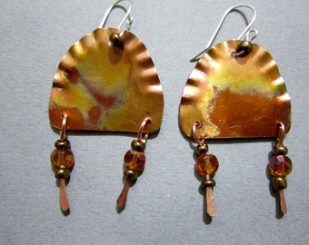 Copper patina colored, textured earrings