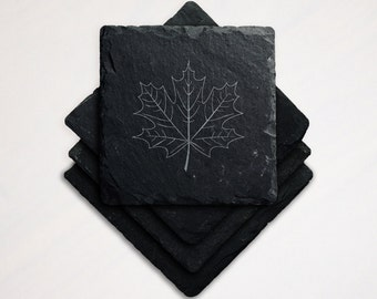 Laser Engraved Slate Coaster Maple Leaf Autumn Fall Canada Vermont