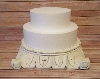 White Rustic Wood Cake Stand Pedestal
