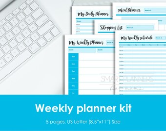 Weekly planner kit, printable. US Letter Size. Includes weekly, daily and meal planner, week schedule  and shopping list. Instant download.