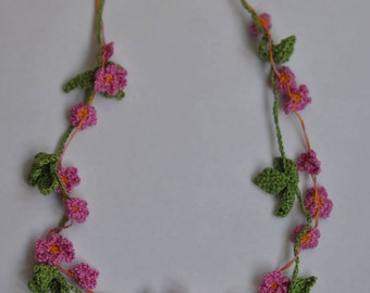 Crochet necklace Strawberry Pink or White
