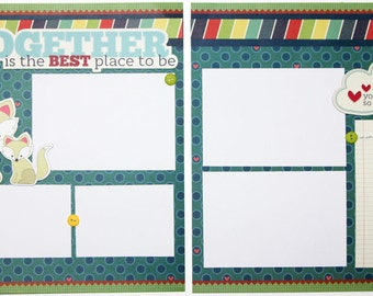 "Premade Scrapbook Pages 12 x 12 ""Together"", Double Page"