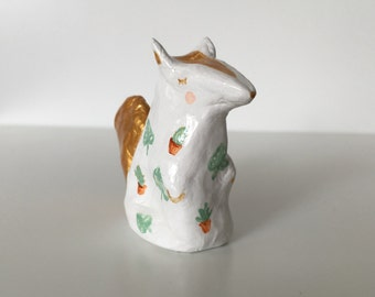Ceramic Squirrel Miniature, Totem, Figure, Home Decor