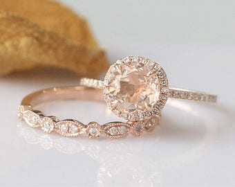 2pcs7mm round morganite ring set 14k rose gold engagement ring morganite engagement ring - Morganite Wedding Ring Set