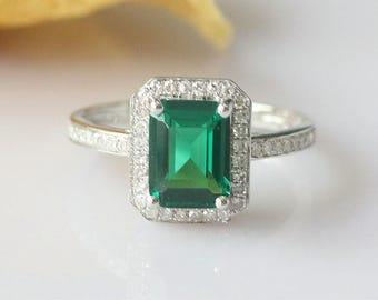 Vintage Ring!!! 6x8mm Emerald Ring 14k White Gold Engagement Ring Emerald Anniversary Ring Bridal Wedding Ring Promise Ring Diamond Ring