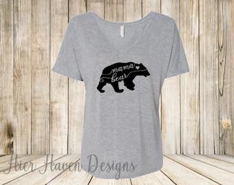 Mama Bear -  #Momlife - Ladies Slouchy v-neck t-shirt top