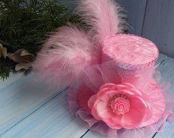 Mini Top Hat Headband Alice in Wonderland Mad Hatter Hat Pink Mini Top Hat Tea Party Hat  Top Hat Fascinator Baby Mini Top Hat Baby Pink Hat