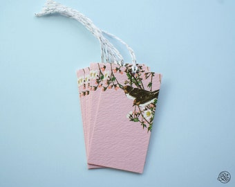6 Gift Tags with strings - Pink Birds // Label, Card, Birthday, Baptism, Gift Accessory, Host Gift, Wine Label, Jam Label, Flowers, Baby