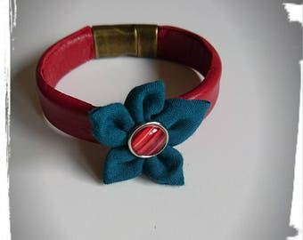 Leather with fabric flower bracelet
