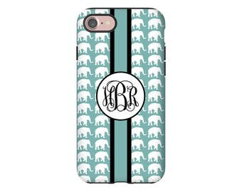Elephants iPhone 7 case, monogram iPhone case,  iPhone 7 Plus case, iPhone SE case, iphone 6s case/6s Plus/6/6 Plus case, custom phone case
