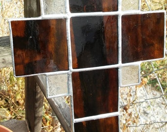 Brown Stained Glass Cross