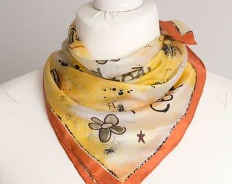 """vintage Small scarf, retro square scarf, silk scarf women scarf shawl kerchief 52cm / 21"""" orange beige floral"""