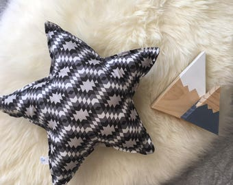 Black, Charcoal and White Geometric print star cushion