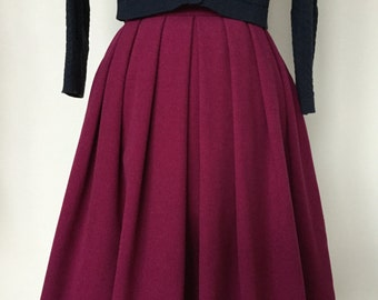 Pleated Winter Wool Skirt