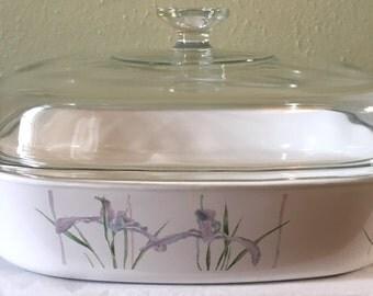 Vintage Corning Ware Shadow Iris 2.5 Liter Casserole Dish w/ Lid