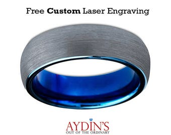 Mens Tungsten Wedding Band Ring 4mm for Men or Women Comfort Fit Blue Round Domed Brushed Tungsten Carbide Wedding Ring