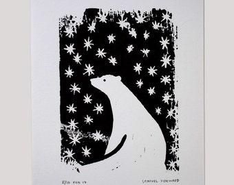 Polar Bear & Stars Handprinted Linocut