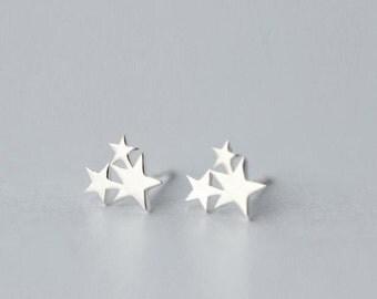 "925 sterling silver Stud Earrings ""Star"""