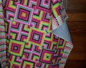 Bright Exploding Square Quilt
