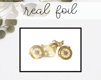Vintage Motorcycle Print // Real Gold Foil // Minimal // Gold Foil Art // Home Decor // Modern Office Print // Hipster // Fashion Print