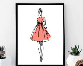 Fashion Girl with A Red Dress Print // Minimalist // Wall Art // Office DIY // Scandinavian // Modern Office // Fashion // Makeup