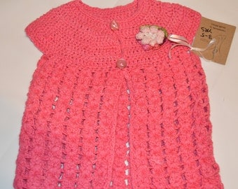 3 - 4 Years Old Girls' Bright Pink Cardigan