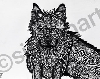 Mehndi Patterned Wolf, Digital Print, Henna Art