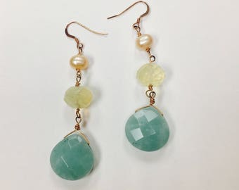 Amazonite, Moonstone, and Pearl Drop Earrings