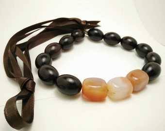 ROOIBOS LATTE - Carnelian and Tiger Ebony Ribbon Tie Necklace
