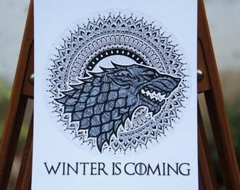 Card Game of Thrones - Stark - Mandala - Targaryen - Lannister, Greyjoy postcard