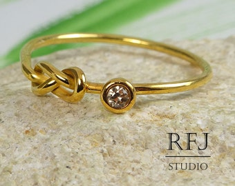 Yellow Gold Lab Cognac Diamond Infinity Knot Ring, Double Knot 24K Gold Plated Ring, 2 mm Stone Friendship Gold Ring Love Knot Gold Ring